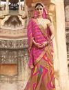 image of Designer Beige-Pink Color Party Wear Bandhani Print Georgette Saree