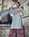 image of Grey Color Pakistani Style Cotton Palazzo Salwar Suit