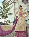 image of Pakistani Style Cream Color Party Wear Cotton Palazzo Suit
