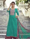image of Sea Green Color Pakistani Style Cotton Palazzo Salwar Suit