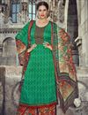 image of Green Color Palazzo Style Cotton Pakistani Salwar Suit