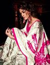 photo of White Color Attractive Crepe Printed Saree