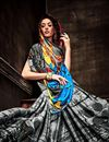 photo of Grey Color Attractive Crepe Printed Saree