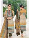 image of Cream-Mustard Color Straight Cut Cotton Satin Salwar Kameez