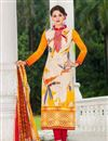 image of Beige Color Casual Printed Cotton Satin Salwar Kameez