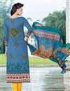 photo of Straight Cut Cotton Satin Salwar Kameez in Blue Color