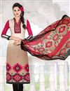 image of Cream-Pink Color Casual Wear Cotton Satin Printed Salwar Suit