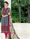 image of Cotton Satin Straight Cut Salwar Suit in Grey Color