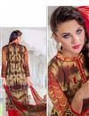 photo of Cotton Satin Straight Cut Salwar Suit in Red-Cream Color