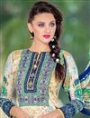 photo of Straight Cut Cotton Satin Salwar Kameez in Cream Color