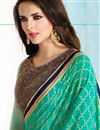 photo of Green-Blue Color Party Wear Silk Saree with Designer Blouse