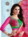 photo of Pink-Green Color Printed Party Wear Silk Saree with Blouse