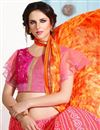 photo of Party Wear Printed Silk Saree in Orange-Pink Color