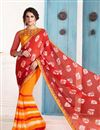 image of Party Wear Silk Saree in Orange Color with Bangalori Silk Blouse