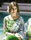 photo of Printed Party Wear Green And Grey Color Saree in Georgette Fabric