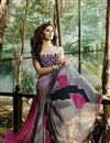 photo of Party Wear Printed Georgette Saree in Pink And White Color