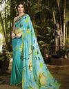 image of Charming Cyan Color Party Wear Printed Georgette Saree