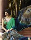 photo of Party Wear Printed Georgette Saree in Green And Blue Color