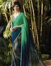 image of Party Wear Printed Georgette Saree in Green And Blue Color