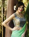 photo of Green Color Fancy Print Georgette Saree with Georgette Blouse