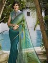image of Printed Party Wear Teal Color Saree in Georgette Fabric