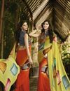 image of Party Wear Printed Georgette Saree in Orange And Yellow Color