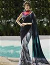 image of Party Wear Printed Georgette Saree in Black And Grey Color