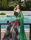 photo of Green And Grey Color Party Wear Georgette Saree with Georgette Blouse