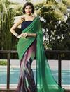 image of Charming Green And Grey Color Party Wear Printed Georgette Saree