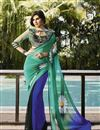 photo of Blue And Cyan Color Party Wear Georgette Saree with Georgette Blouse