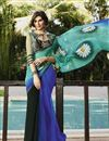image of Blue And Cyan Color Party Wear Georgette Saree with Georgette Blouse