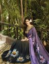 photo of Fancy Print Party wear Georgette Saree In Black And Purple Color
