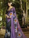 image of Fancy Print Party wear Georgette Saree In Black And Purple Color