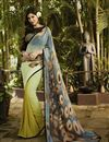 image of Grey And Yellow Color Printed Party Wear Georgette Saree