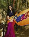 photo of Party Wear Printed Georgette Saree in Orange Color