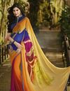 image of Orange Color Printed Party Wear Georgette Saree