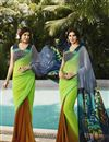 image of Party Wear Printed Georgette Saree in Green And Orange Color