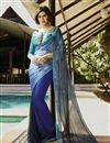 image of Charming Grey And Blue Color Party Wear Printed Georgette Saree
