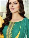 photo of Cotton Fabric Sea Green Color Embroidered Straight Cut Salwar Suit