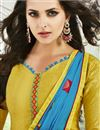 photo of Straight Cut Cotton Fabric Party Wear Embroidered Salwar Kameez In Yellow Color