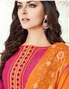 photo of Embroidered Straight Cut Cotton Salwar Kameez In Pink Color