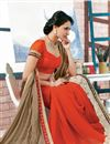 photo of Wonderful Georgette Designer Saree In Orange And Beige Color