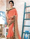 image of Beguiling Peach Color Designer Saree In Georgette Fabric