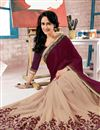 photo of Dazzling Cream And Purple Color Embroidered Designer Georgette Saree