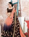 photo of Beguiling Peach And Black Color Designer Saree In Georgette Fabric