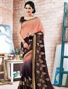 image of Beguiling Peach And Black Color Designer Saree In Georgette Fabric