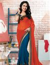 image of Attractive Blue And Orange Color Designer Saree In Georgette Fabric