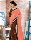 image of Dazzling Peach And Brown Color Embroidered Designer Georgette Saree