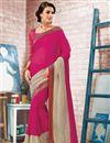 image of Dazzling Pink Color Embroidered Designer Georgette Saree