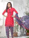 image of Cotton Fabric Patiala Salwar Kameez In Pink Color